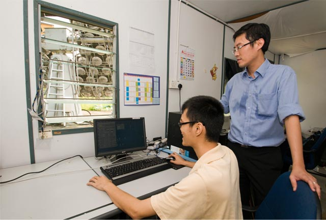 Prof Chong (right) and his student in the control room