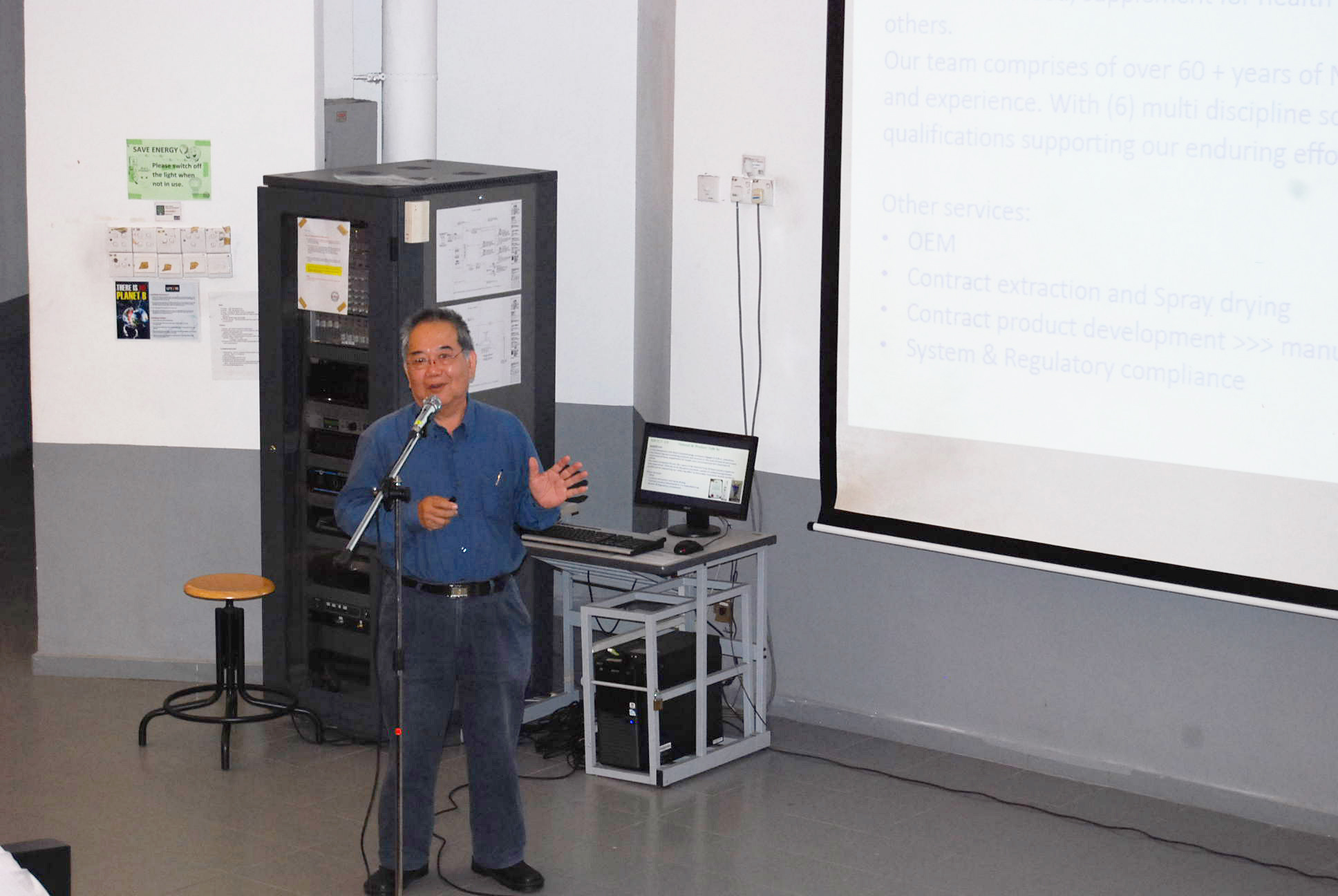 Stuart Soo introducing the services provided by his company